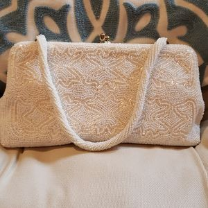 Vintage White Beaded Handbag Made in Japan